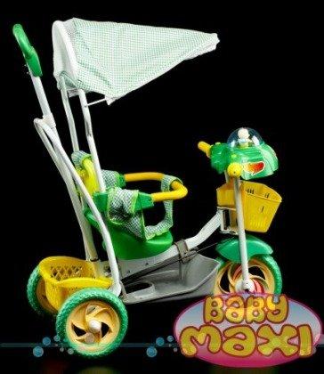 Rowerek trójkołowy z pozytywką kaczuszka zielony