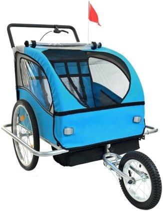 Przyczepka rowerowa 2-osobowa +JOGGER - niebieska