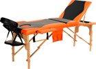 Stół, łóżko do masażu 3 segmentowe drewniane czarno - pomarańczowe