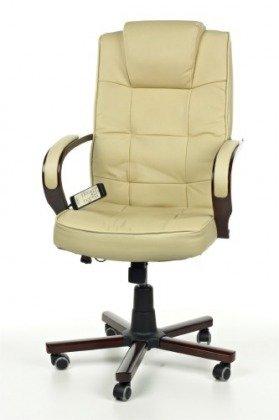 Fotel biurowy z masażem skóra Vespanni w kolorze beżowym