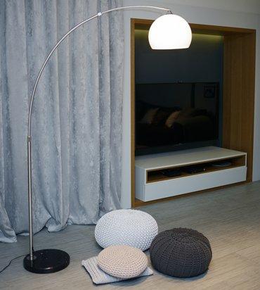Lampa podłogowa MAXXI Lounge Deal ECO z białym kloszem