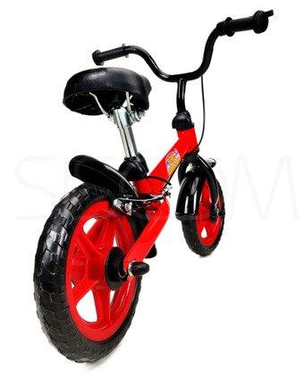 """Rowerek biegowy metalowy 10"""" czerwono - czarny"""