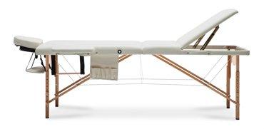 Stół, łóżko do masażu 3 segmentowe drewniane beżowe XXL