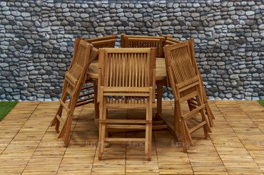 Zestaw mebli ogrodowych z drewna TEAKOWEGO: Stół składany + 6 Krzeseł